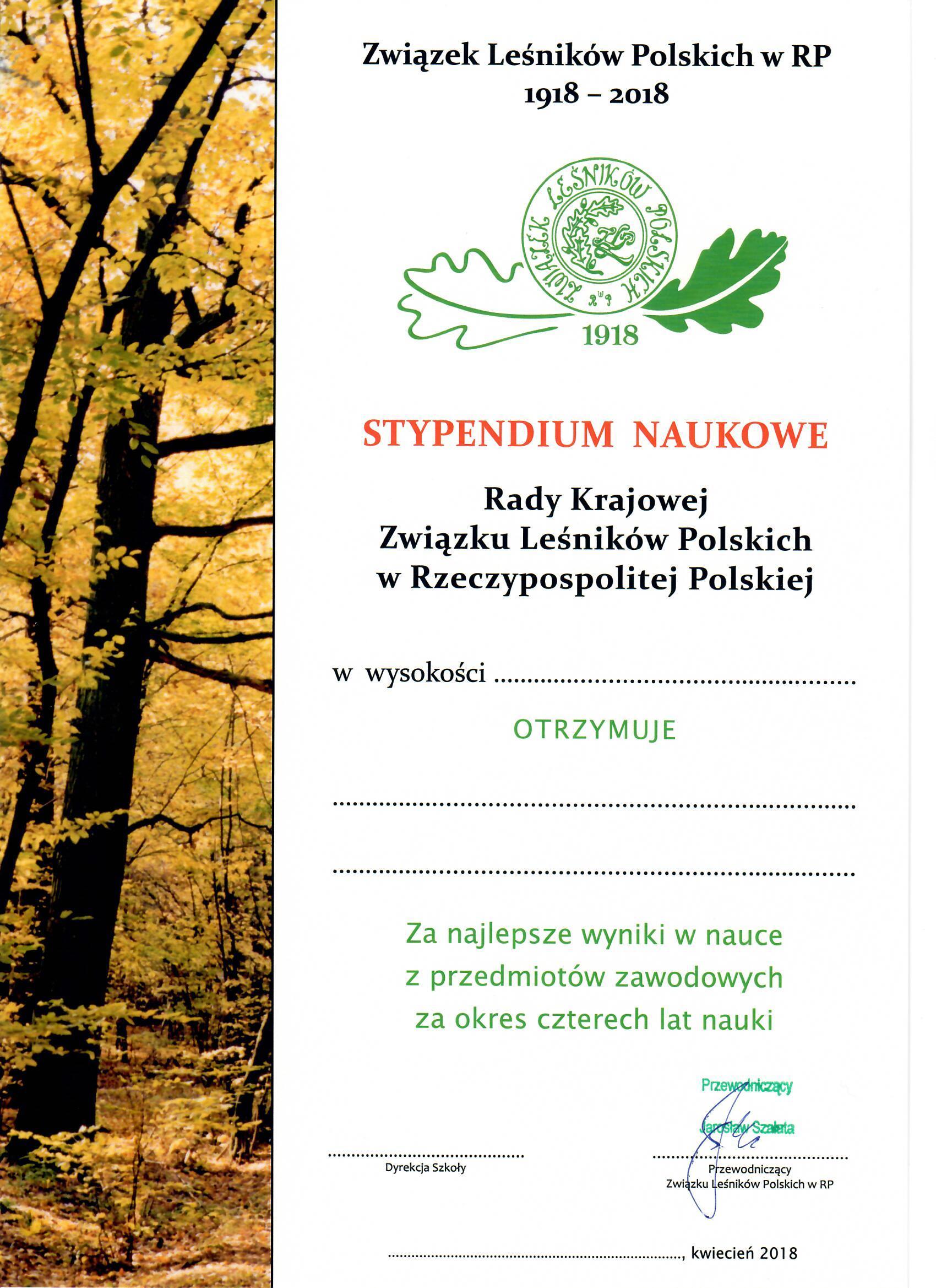 Dyplom - stypendia dla szkół leśnych