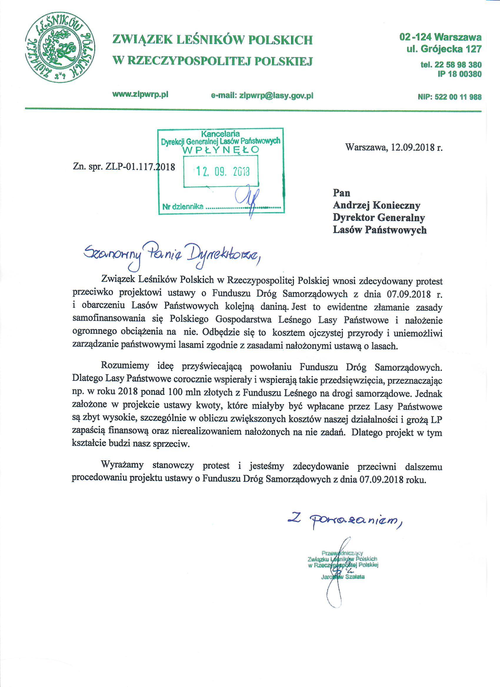 ZLP-01.116.2018_Projekt ustawy o FDS - opinia ZLP w RP - z pieczęcią